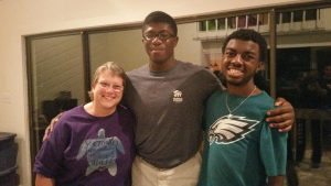 NCCU Wesley Board Member Michelle Jones and Wesley Fellows – Antonio White and Joshua McLaurin enjoying fellowship at NCCU Well Gathering