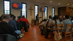 Former NCCU Wesley Fellow and UMC Taste & See Pastoral Intern, Winston Holloway preaches at  CityWell Church