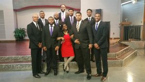 The Mighty Tau Psi Chapter of Omega Psi Phi Fraternity, Inc. leads Sunday worship service on the campus of NCCU.